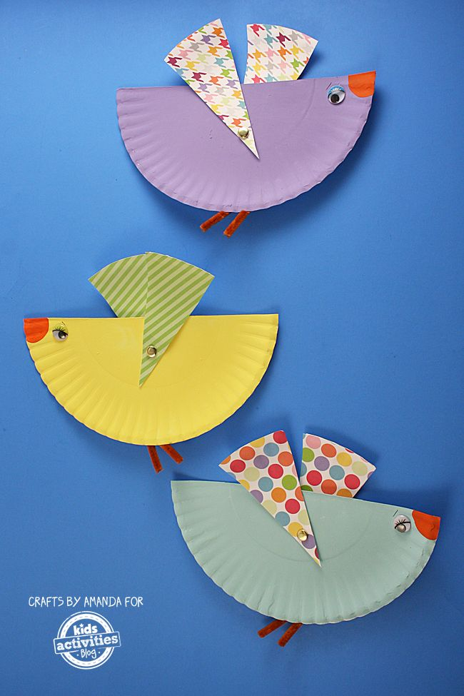 Making crafts from paper plates, like these colorful paper plate birds, is an inexpensive and fun activity for kids.
