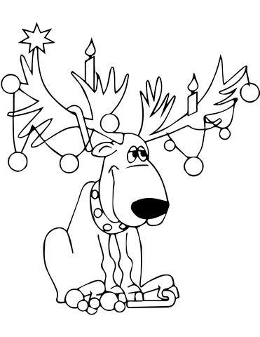 Christmas Lights on Reindeer Antlers Coloring page ...