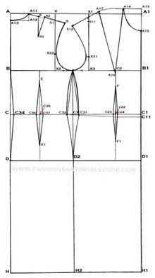 carta modello base abito tubino,come fare abito tubino aderente,come fare carta modello abito