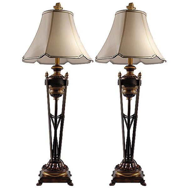 Awesome Vintage Style Iron TorchiereTall Buffet Lamp,Set of Two,40.5''H. #Handmade #Mediterranean