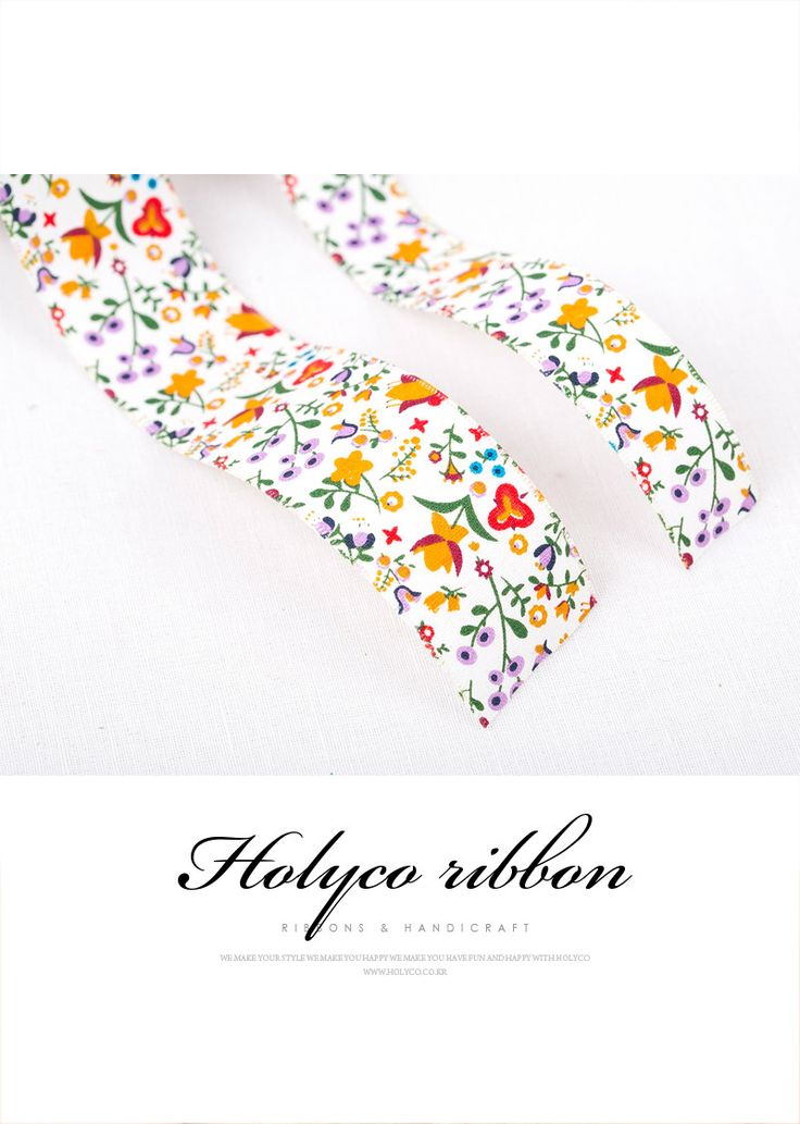 """Spring Flower Cotton Fabric Ribbon / 1"""" (25mm), 1.5"""" (40mm) / made in korea. by HOLYCO on Etsy"""