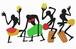 Dames de danse brodé d'Afrique http://www.embroiderydesignsfeathers.com/people-embroidery-designs/