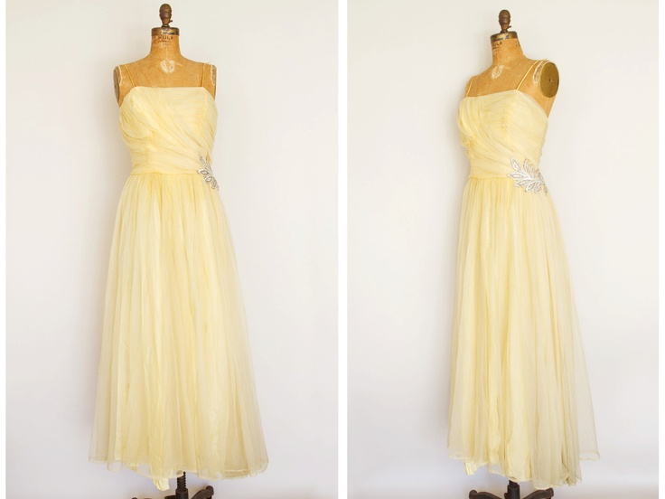 1950s Dress  50s Dress  Yellow Chiffon Formal by LivingOnVelvet, $89.00 Bridesmaid dress....needs sleeves or jacket though