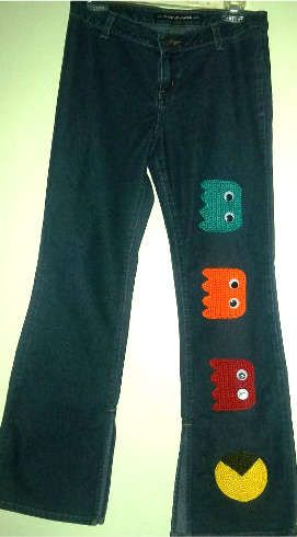I adore the crocheted Pacman jeans upcycled by Etsy's LaviniasCrochet  Ohhh, wish my Aunt @Donna Salisbury n could crochet these to attach onto someethig for Bella.  PAC MAN