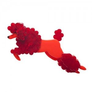 Lady the Leaping Poodle (Red Resin  Brooch)