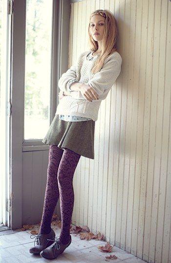 Knits and paisley #HUE patterned tights. #allthehues