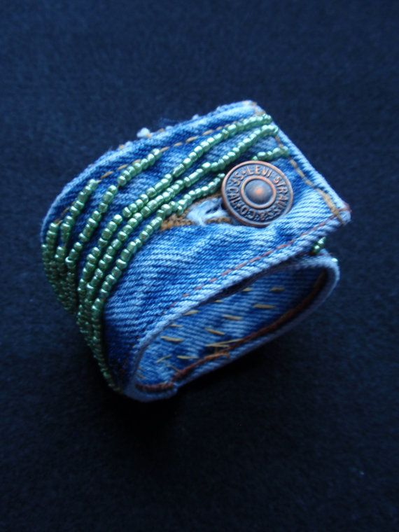 Inspiration.... would NOT pay $40 bucks!!!!Up-cycled Denim cuff. $39.95, via Etsy.