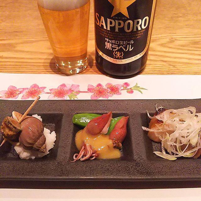 先付 桜と、、 疲れた時は、THE和食が沁みます #washoku #sakizuke #otoshi #hotaruika #桜 #春味 #つぶ貝 #ホタルイカ #sapporo #黒ラベル #瓶ビール党