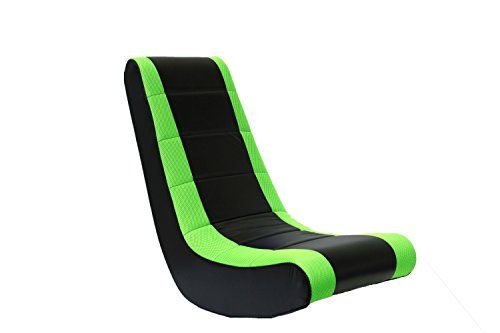 Crew Furniture 991590 Classic Video Rocker Black/Neon Green Mesh Racing Stripe  Perfect for floor activities, playing video games, watching TV, reading, relaxing, or just hanging out with your crew.  Modernistic, ergonomic style, built on a wood frame and padded with polyurethane foam.  Choose between attractive bold mesh racing stripes or solid color.  Faux leather vinyl wipes clean with a damp cloth.  Dimensions (W x D x H): 16 x 24 x 32 inches. Ages 3yrs & up. Fully assembled.
