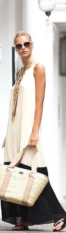 Vestido longo rapport! A bolsa faz parte do look para completar! C. E por…