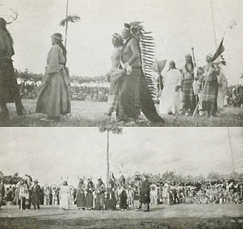 """Sun Dance, Rosebud, South Dakota, 1928, Major Israel McCreight. The Sun Dance is a Lakota religious ceremony. """"Only a very brave warrior became a candidate for the Sun Dance, for it meant giving his own body in supreme sacrifice. He must endure the greatest physical pain to ensure that his prayers would be answered. These prayers were to prevent tribal famine or the death of a dear one, or that could bring fortitude in facing immense odds in impending battle or help on behalf of a friend…"""