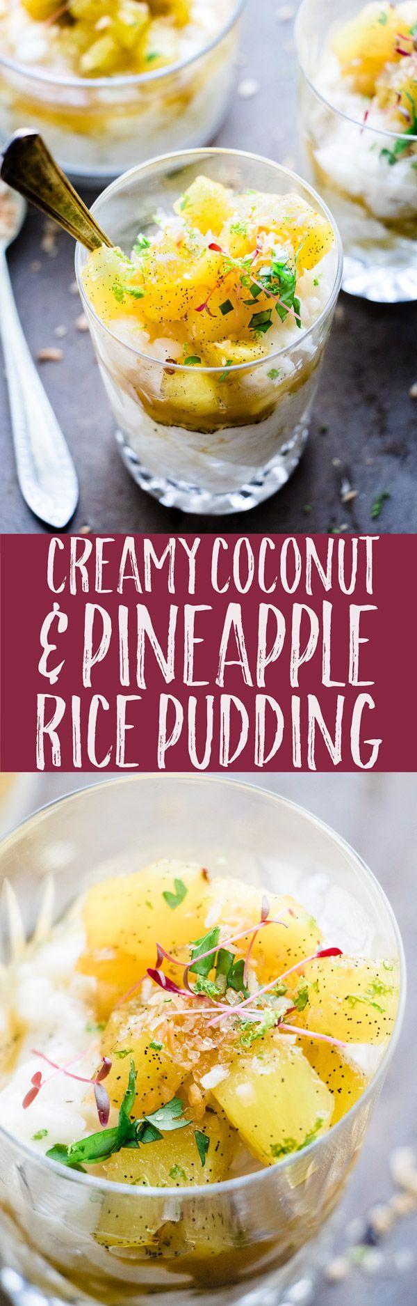 This warm and creamy coconut rice pudding is a the perfect comfort dessert. It's made with fragrant kaffir lime and coconut milk. Topped with vanilla and brown sugar pineapple, it's family friendly and vegan. Ready in 25 minutes. via @saltedmint1