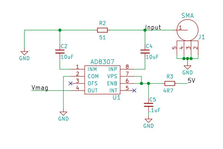The network analyzer shield uses an Analog Devices AD9851 DDS chip clocked at 180MHz which will output a sine wave at any frequency from 0Hz and 72MHz. The DDS output is filtered with a Butterworth LPF and then passed to a two transistor amplifier. The shield will output approximately 0dBm (maybe 1-2dBm if you turn the Pot up; may get distortion, though) into 50 Ohms. The output and input connectors are SMA. The power detector is an Analog Devices AD8307. It's inputs are terminated w...