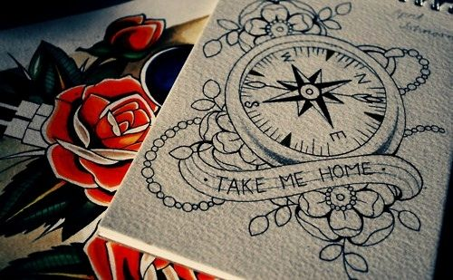 "I really think I want a compass tattoo- would use  ""always guide me home"" or ""always lead me home"""