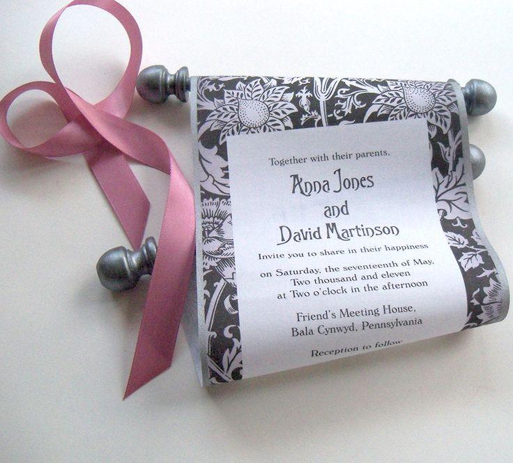 Classic black tie wedding invitation scrolls with metallic pewter, set of 5 scrolls