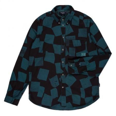 - Petrol Blue Broken Checkerboard Print Shirt 16