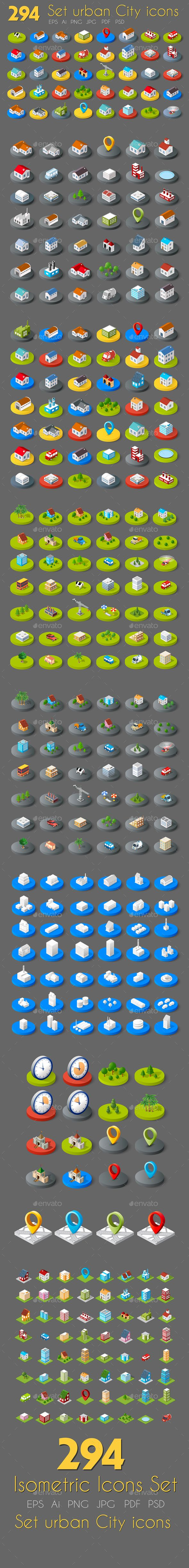 Isometric Web Icons Design Template - Buildings Objects Vector Design Template PSD, Vector EPS, AI Illustrator, Transparent PNG, JPG Image. Download here: https://graphicriver.net/item/isometric-web-icons/19363449?ref=yinkira