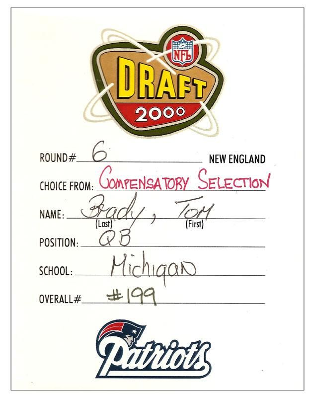 Here's a #TBT: 15 years ago today the Patriots used the 199th pick in the 2000 NFL draft on Tom Brady.