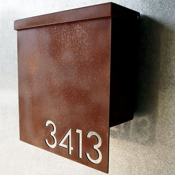 Custom Modernist House Number Mailbox No. 1310 Drop Front in Rusted Steel
