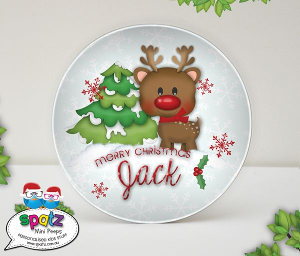 Personalised Unbreakable Plastic Kids Christmas Plates - SPATZ Mini Peeps® - Ho Ho Ho, SPATZIFY your silly season with our awesome Unbreakable Kids Christmas Plates.  Makes a great My First Christmas Keepsake!
