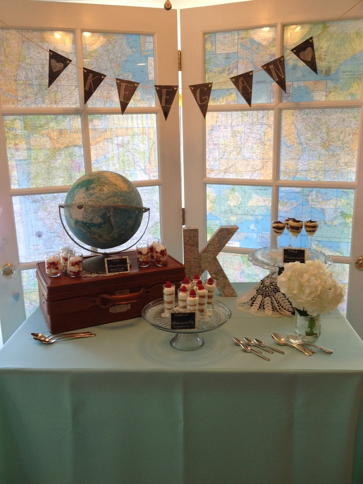 Vintage Travel Baby Shower Dessert Table. French Doors Backed With Maps.  Chalkboard Bunting Strung