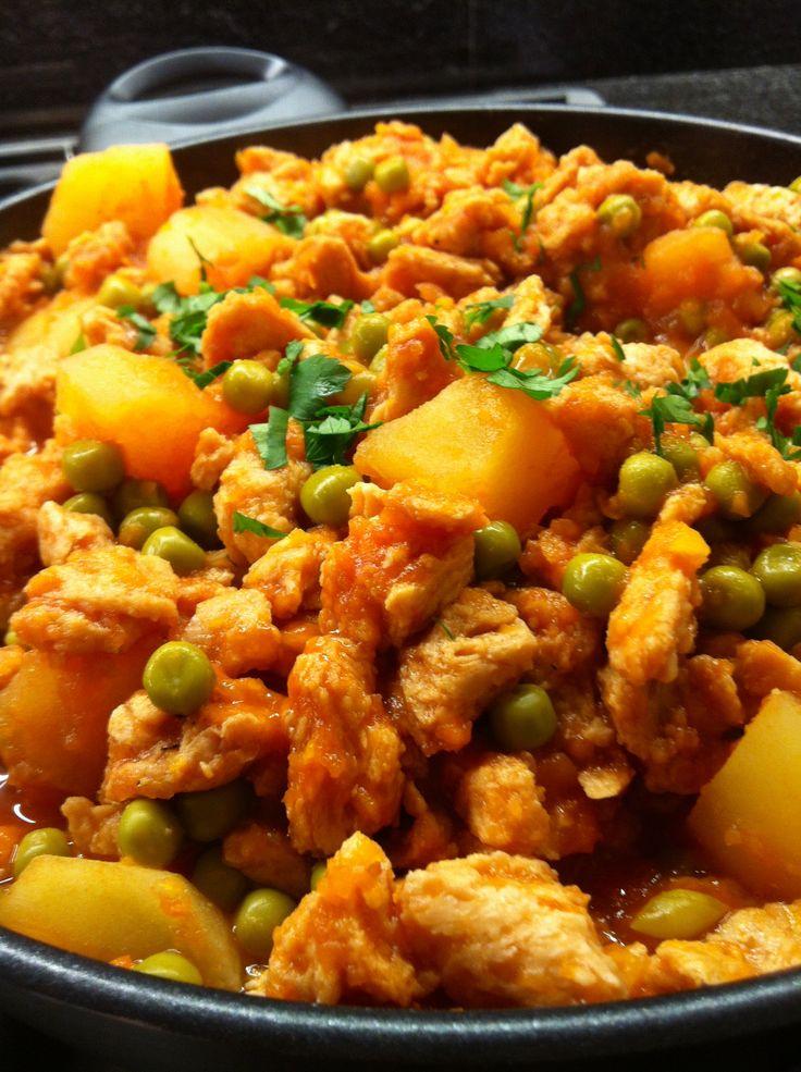 Spezzatino di soia con piselli e patate