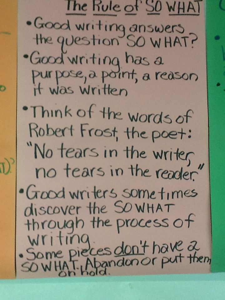 The Rule of So What from Nancie Atwell's Lessons That Change WritersClassroom, Atwell Lessons, Workshop, Grade Writing, 6Th Grade, Schools, Change Writers, 5Th Grade, 720 960 Pixel