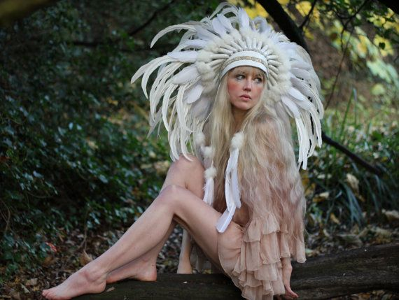 White feather headdress, statement feather crown, feather headband, feathered festival headdress on Etsy, $340.43