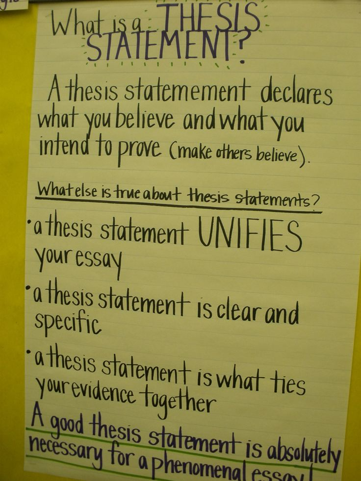 Thesis statements anchor chart -- Definitely a good idea to have something like this hung up in the classroom