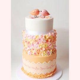 """Эксклюзивный свадебный торт """"Маленькие птички"""""""