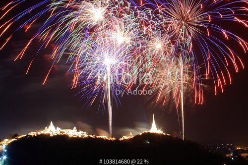 "Download the royalty-free photo ""Fireworks over the city, annual fair at Phra Nakhon Kiri, Phetchaburi, Thailand"" created by misspin at the lowest price on Fotolia.com. Browse our cheap image bank online to find the perfect stock photo for your marketing projects!"