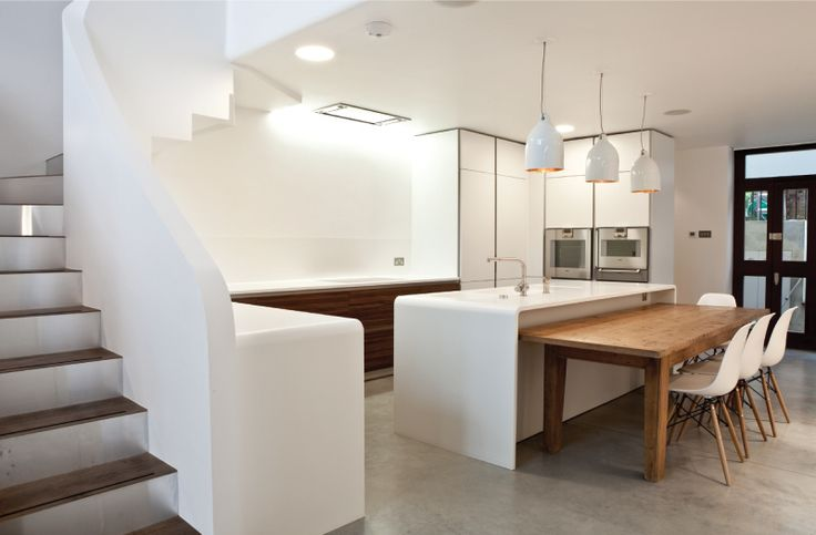 Modern Contemporary Residential Architect Design London West Hampstead NW6. Feature staircase, mezzanine, bulthaup kitchen
