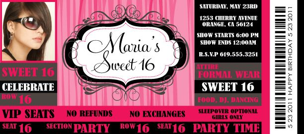 Vip Ticket To A Sweet 16 Invitation! Vip Ticket To A Sweet 16