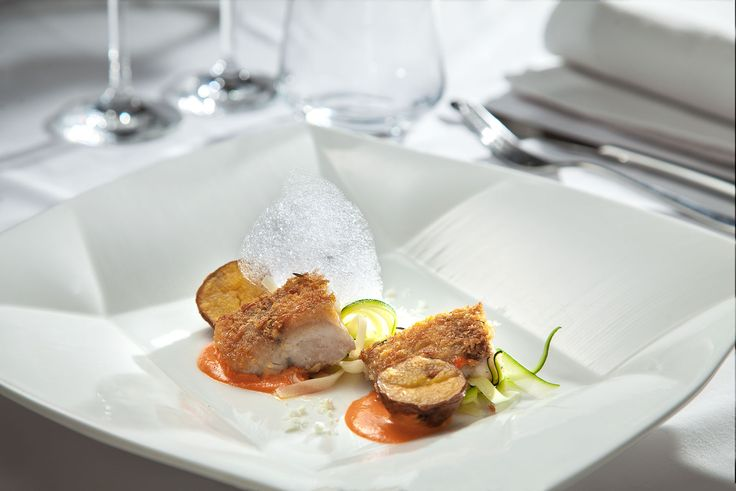 Pan-Fried Fish of the Day with Bread Crumb Served with Roasted Potato and Zuccini Pasta, Romesco Sauce