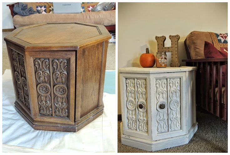 Octagon end table makeover