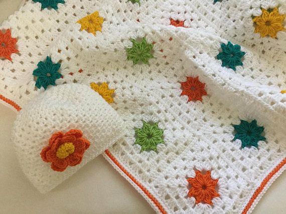 White baby blanket crochet baby set baby shower gift baby