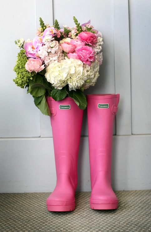 pink wellies filled with pretty flowers