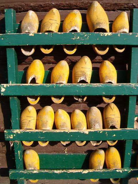 Wooden shoes rack.