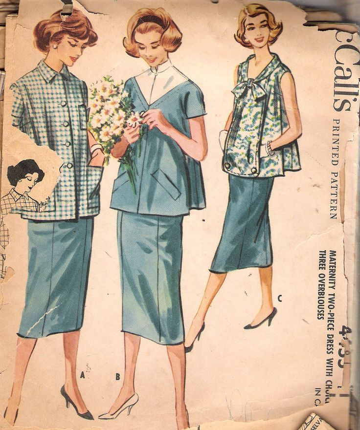 """Vintage 1958 McCall's 4455 Maternity Two Piece Dress 3 Over-blouses Sewing Pattern Size 18 Bust 38"""" by Recycledelic1 on Etsy"""