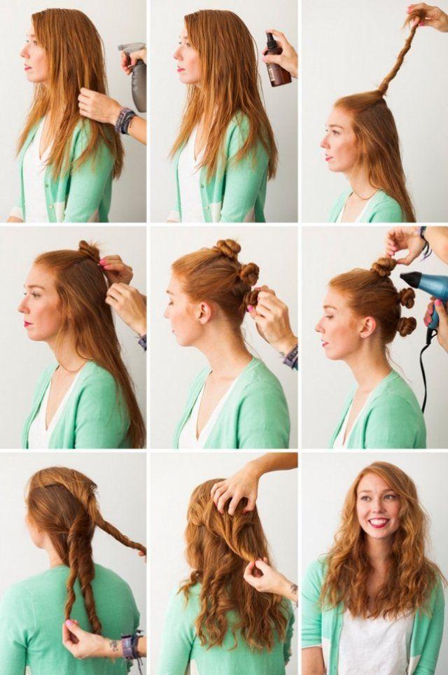 Anleitung zum nachstylen-Lässige Frisur mit Wellen-drei Haarknoten
