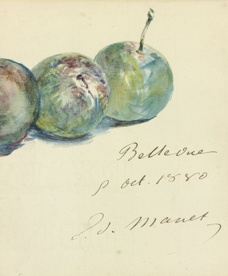 ÉDOUARD MANET (1832-1883)  EN-TÊTE DE LETTRE (TROIS PRUNES)   Signed Ed. Manet and dated 8 oct. 1880  Watercolor and pen and ink on paper  18.4 x 12.7 cm  Executed on October 8, 1880.