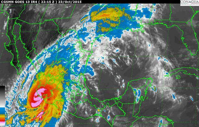 Imagen Infrarroja Animada con Mapa Satelital del clima en México por el SMN de la CNA (CONAGUA)