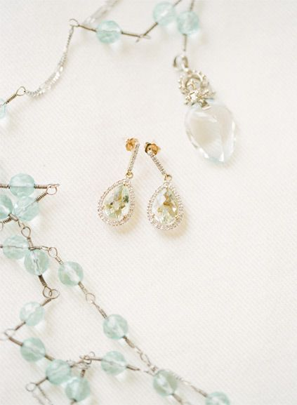 Mint & Gold Jewelry | | Utterly Romantic Berry and Greyed Jade Wedding Inspiration