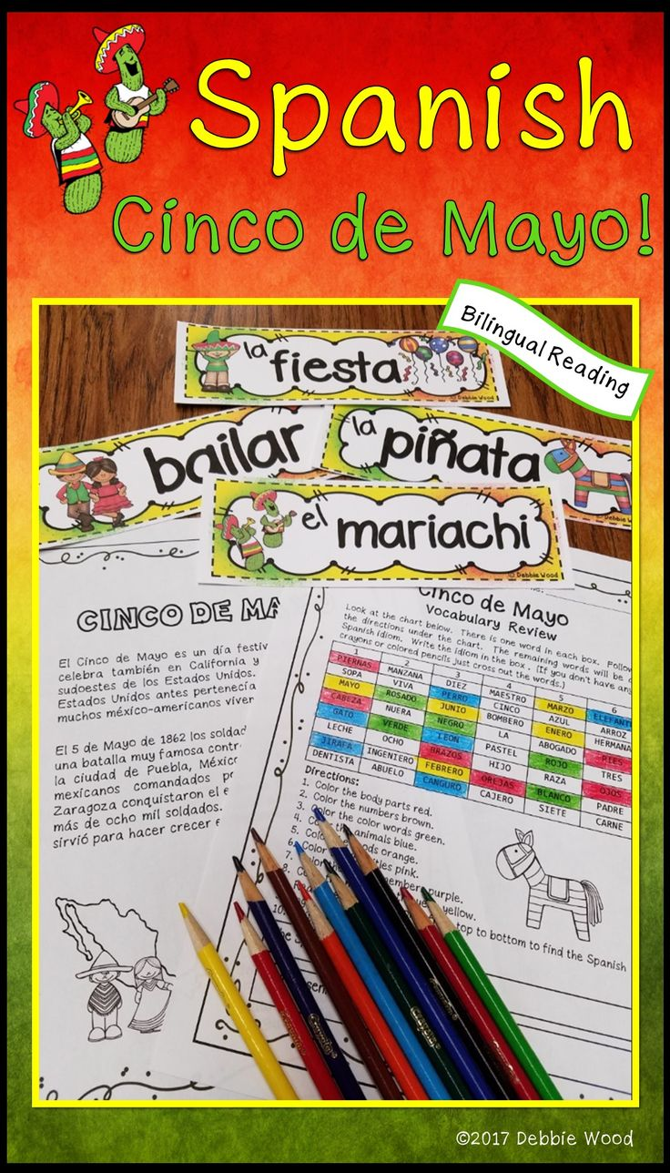 Teach your Spanish language students the true meaning of Cinco de Mayo with this MEGA BUNDLE. It includes a bilingual reading with 19 print and go worksheets. There is a beautiful word wall set to help teach vocabulary and it also can be used to make a beautiful bulletin board. There is a set of Conversation Cards and a fun, engaging roll and Write Activity Board set.  +2 boards