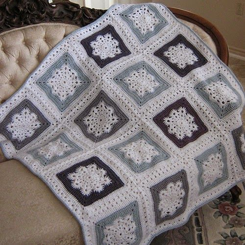 Woolly's Snowflake square, free pattern by Letitia Sherriff .. It's a beautiful blanket. Woolly's Snowflake Square – Free Crochet Patterns