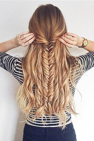 Half Updo Fishtail Braid <3 @zane_jurjane is wearing her Dirty Blonde #LuxyHairExtensions for thickness!