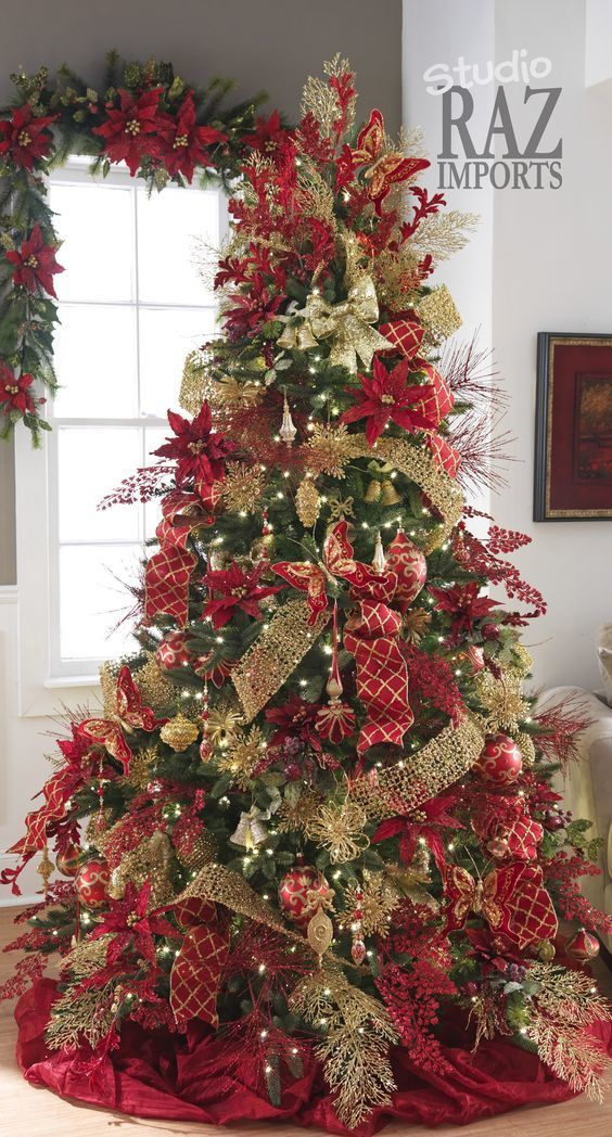 decoracao arvore de natal vermelha e dourada: Natal Vermelho, Mostrar Aldeia De Natal e enfeites de árvore de Natal
