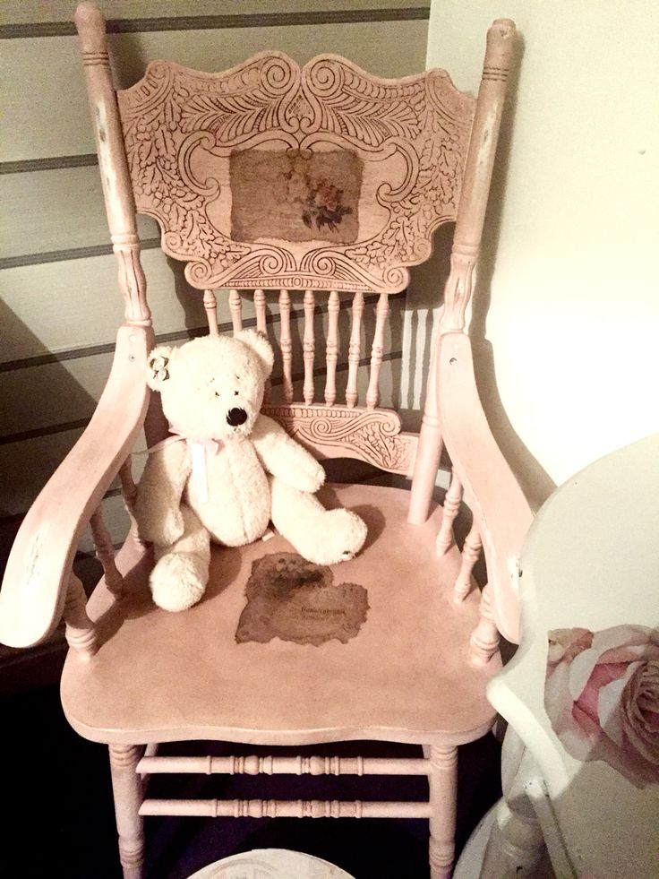 Shabby chic arm chair painted in dusty pink. Decoupaged and dark waxed.