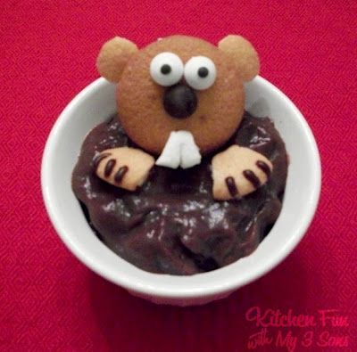 how cute...Desserts, Fun Food, Birthday Parties, Ground Hog, Groundhogday, Chocolates Puddings, Kids, Baby Shower, Groundhog Day