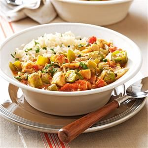 Chicken and Okra Gumbo Recipe -We used to live in New Orleans, but our stomachs don't know we moved yet. I still make many Creole dishes, and gumbo is one of our favorites. —Catherine Bouis, Palm Harbor, Florida